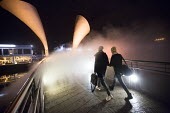 To celebrate IBT15, Bristol status as European Green Capital, a new artwork by artist Fujiko Nakaya concerned with Climate Change Fog Bridge engulfs Peros Bridge in fog. - Paul Box - ,2010s,2014,ACE,art,Art Gallery,artist,ARTISTS,Arts,artwork,artworks,bascule,bridge,bridges,Capital,cities,city,City centre,COMMEMORATE,COMMEMORATING,commemoration,COMMEMORATIONS,commemorative,Council