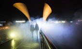 To celebrate IBT15, Bristol status as European Green Capital, a new artwork by artist Fujiko Nakaya concerned with Climate Change Fog Bridge engulfs Peros Bridge in fog. - Paul Box - 29-08-2014