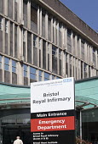 The Bristol Royal Infirmary, Emergency department main entrance, Bristol. - Paul Box - 20-04-2015