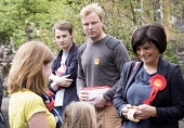 Thangam Debbonaire talks to the public. Young Labour supporters canvas in the ward of West Bristol for the labour candidate Thangam Debbonaire. This is a very closely fought seat. - Paul Box - 04-05-2015