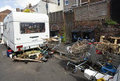 Travellers camp up in residential street, Littleton street, Easton, Bristol - Paul Box - 2010s,2015,camp,camps,caravan,caravans,cities,city,home,mobile,PEOPLE,scene,scenes,Social Issues,soi,street,streets,traveler,travelers,traveling travel,traveller,travellers,TRAVELLING,TROLLEY,TROLLEYS