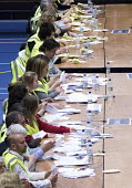 Votes being counted, Bristol West General Election count, Bristol. - Paul Box - 08-05-2015