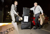 Ballot boxes arriving at the count. Bristol West General Election count, Bristol. - Paul Box - 07-05-2015