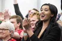 Thangam Debbonaire Labour Candidate wins, Bristol West General Election count, Bristol. - Paul Box - 2010s,2015,BME black,Candidate,CANDIDATES,celebration celebrations,cities,city,count,democracy,ELECTION,election elections,elections,ethnic,ETHNICITY,general election,labour party,minority,POL,pol pol