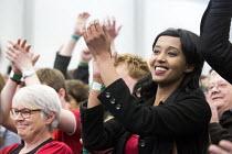 Thangam Debbonaire Labour Candidate wins, Bristol West General Election count, Bristol. - Paul Box - ,2010s,2015,BME black,Candidate,CANDIDATES,celebration celebrations,cities,city,count,democracy,ELECTION,election elections,elections,ethnic,ETHNICITY,general election,labour party,minority,POL,pol po