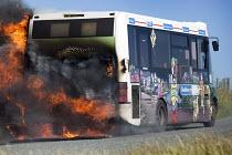 The Pembrokeshire Coastal Cruiser tourist passenger bus bursting into flames, Freshwater West, Wales - Paul Box - 26-06-2015