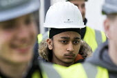 Pupils visit new energy efficient homes, Barratt Homes, Hanham Hall, Bristol - Paul Box - ,2010s,2015,adolescence,adolescent,adolescents,Asian,Asians,BAME,BAMEs,black,BME,bmes,boy,boys,builder,builders,building,building site,BUILDINGS,child,CHILDHOOD,children,cities,city,Construction Indus