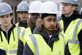 Pupils visit new energy efficient homes, Barratt Homes, Hanham Hall, Bristol - Paul Box - 2010s,2015,adolescence,adolescent,adolescents,Asian,Asians,BAME,BAMEs,black,BME,bmes,boy,boys,builder,builders,building,building site,BUILDINGS,child,CHILDHOOD,children,cities,city,Construction Indust
