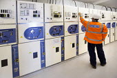 Electrical engineers in a control room, substation, Clifton, Bristol - Paul Box - 23-06-2015