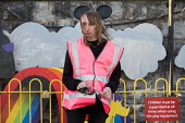 Dismaland a parody of Disneyland theme park by Banksy, Weston Super Mare. A Bemusement Park staffed by morose Dismaland guides who are uninterested in being helpful or remotely informative - Paul Box - 27-08-2015
