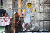 Dismaland a parody of Disneyland theme park by Banksy, Weston Super Mare. A puppet revue show constructed entirely from the contents of Hackney skips, a Fly Tip Theatre by Paul Insect and Bast at the... - Paul Box - 27-08-2015