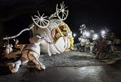 Dismaland a parody of Disneyland theme park by Banksy, Weston Super Mare. Disney princess Cinderella horse drawn pumpkin carriage coach crash with paparazzi press photographers in motorcycle helmets,... - Paul Box - 27-08-2015