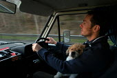 A man drives his camper van with his dog asleep on his lap - Paul Box - 2000s,2004,and,animal,animals,asleep,best,camper,companion,dog,dogs,driver,drivers,driving,friend,LFL Lifestyle leisure,life,male,man,mans,OWNERSHIP,people,person,persons,pet,PETS,puppy,terrier,travel