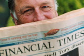 A professor and businessman with a copy of The Financial Times, University of The West of England, Bristol - Paul Box - 2000s,2003,business,cities,city,EBF,EBF Economy business & finance,Economic,Economy,expert,finance,financial,FT,media,new,newspaper,newspapers,office,press,professor,professors,read,reader,readers,rea