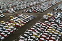 Portbury docks, Avonmouth Bristol - Paul Box - 2000s,2004,AUTO,auto industry,AUTOMOBILE,AUTOMOBILES,Automotive,automotive industry,boat,boats,capitalism,capitalist,car,Car Industry,carindustry,cars,cities,city,dock,docks,EBF Economy,export,exporte
