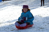 A Child sledging, St Andrews park , Bristol - Paul Box - 2000s,2004,at,child,CHILDHOOD,CHILDREN,church,churches,Council Services,Council Services,juvenile,juveniles,kid,kids,landscape,LANDSCAPES,local authority,of,outdoors,outside,people,play,playing,precip