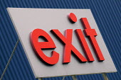 Ikea home furnishing store, exit sign - Paul Box - 2000s,2004,bought,buy,buyer,buyers,buying,commodities,commodity,communicating,communication,consumer,consumers,customer,customers,EBF Economy,goods,home,ikea,outlet,outlets,purchase,purchaser,PURCHASE