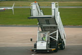 Exeter airport, ground staff towing steps. - Paul Box - 10-06-2004