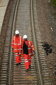 Rail maintenance workers at Filton, Bristol re-modelling the junction to improve the tracks. - Paul Box - 15-06-2004