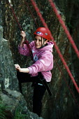 Connexions take teenagers on an activity day, climbing in the Mendip Hills - Paul Box - 2000s,2004,activity,adolescence,adolescent,adolescents,climb,climber,climbers,climbing,Connexions,edu,educate,educating,education,educational,female,females,girl,girls,Hills,knowledge,learn,learner,le