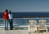 The Aurora cruise ship, a P&O cruise ship. A young couple look out to sea - Paul Box - 02-06-2004