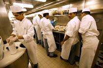The Aurora cruise ship, a P&O cruise ship. Indonesian chefs prepare the food. - Paul Box - 02-06-2004