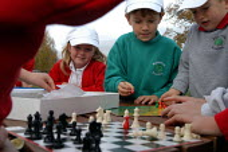 Pupils playing chess at school, Bristol. - Paul Box - 02-08-2004