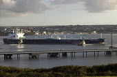 An oil tanker in Milford Haven carrying crude oil to the Texaco oil refinery, Rhoscrowther, Pembroke Dock. Pembrokeshire. - Paul Box - 02-08-2004