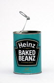 Heinz baked beans can, Bristol. - Paul Box - 2000s,2003,baked,beans,can,canned,cans,food,FOODS,groceries,heinz,LFL Lifestyle,open,opened,tin,tins