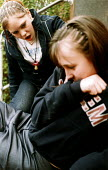 Pupils act out a bullying scene - Paul Box - ,2000s,2004,adolescence,adolescent,adolescents,ANGER,angry,anti social behavior,anti social behaviour,anti socialanti social behavior,antisocial,antisocial behaviour,bad,behavior,behaviour,bullied,bul