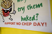 Support no chip day sign at a secondary school. - Paul Box - 10-04-2005