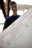 Clevedon school, pupils getting their GCSE results. A students GCSE certificate with A and A* grades. - Paul Box - 25-08-2005