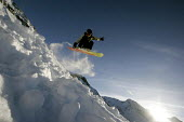 A snowboarder in Sainte Foy nr Tignes and Val Diser in the French alps. - Paul Box - 05-12-2005