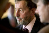 David Blunkett at a business meeting. - Paul Box - 2000s,2005,blind,business,eyesight,eyesite,impairment,Labour Party,male,man,people,person,persons,POL Politics,sight,vision,visually impaired