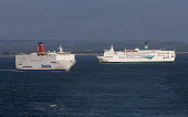 Stena Line ferry leaving Rosslare harbour in Ireland Whilst an Irish Ferries ferry arrives - Paul Box - 20-12-2005