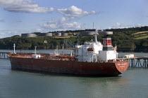 San Jacinto, Majuro oil tanker berths in the Milford estuary, Milford Haven , Pembrokeshire. - Paul Box - 20-12-2005