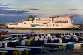 Irish Ferries ferry in Rosslare harbour, Ireland. - Paul Box - ,2000s,2005,AUTO,AUTOMOBILE,AUTOMOBILES,AUTOMOTIVE,boat,boats,calm,capitalism,capitalist,car,cargo,CARS,container,containers,depot,DEPOTS,distributing,distribution,early morning,EBF Economy,eu,europe,