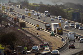Construction workers on the M5 , carrying out motor way maintenance work. - Paul Box - 01-04-2006