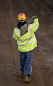 Construction worker on the M5, carrying out motorway maintenance work. - Paul Box - 01-04-2006
