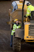 Construction worker on the M5 , carrying out motorway maintenance work. - Paul Box - 01-04-2006