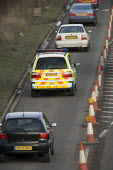 M5 motorway , police car and traffic queue on the access roads during the roadworks. - Paul Box - 01-04-2006