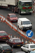 Traffic cones at the start of the M32. - Paul Box - 01-04-2006