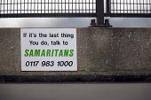A Samaritans sign on the top floor of a car park in the centre of Bristol. - Paul Box - 01-04-2006