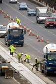 Construction workers on the M5 motorway, maintenance work. - Paul Box - 01-04-2006