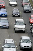 Traffic on the M5 motorway. - Paul Box - 2000s,2006,4x4,AUTO,AUTOMOBILE,AUTOMOBILES,AUTOMOTIVE,car,cars,congested,congestion,driver,drivers,driving,EBF Economy,four by four,four wheel drive,highway,line,motorway,MOTORWAYS,queue,queue queuing