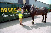 Curbside recycling carried out by Resource Saver with horse and cart, Keynsham, Bristol. - Paul Box - 30-07-2003
