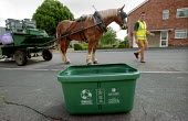 Curbside recycling carried out by Resorce Saver with horse and cart, Keynsham, Bristol. - Paul Box - 30-07-2003