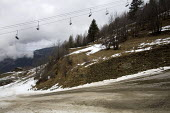 Sainte Foy ski resort, near Val dIsere and Tignes in the French Alps. With unseasonably warm temperatures the snow has been melting, leaving mud, rocks, earth and ice on the pistes. - Paul Box - ,2000s,2007,bare,chairlift,CLIMATE,Climate Change,closed,closing,closure,closures,conditions,depth,empty,ENI Environmental issues,eu,Europe,european,europeans,french,Glacier,glaciers,Global Warming,ho