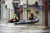 Flooded high street in Evesham, Warwickshire Firefighters patrol the streets looking to rescue trapped residents, Warwickshire. After the river Avon bursts its banks - Paul Box - 22-07-2007