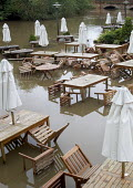 Coxes Yard bar is flooded after the river Avon burst its banks, Stratford upon avon, Warwickshire. - Paul Box - 21-07-2007